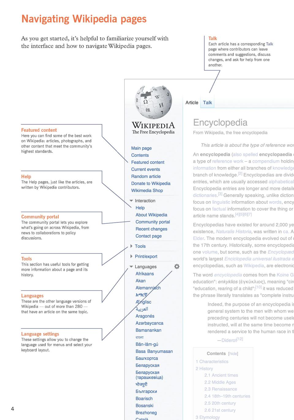 Navigating Wikipedia pages As you get started, it   s helpful to familiarize yourself with the interface and how to naviga...