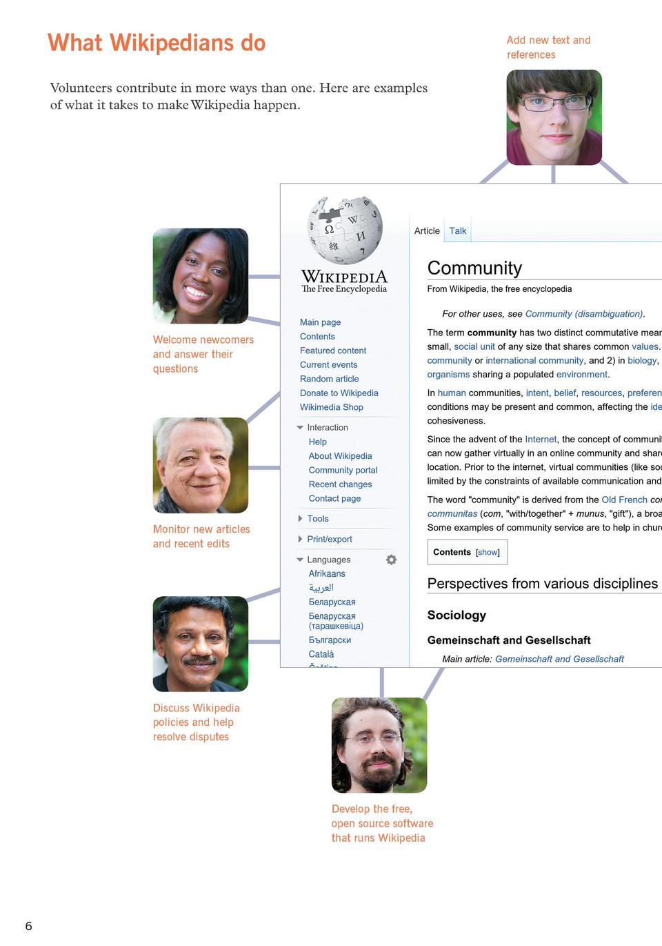 What Wikipedians do  Add new text and references  Volunteers contribute in more ways than one. Here are examples of what i...
