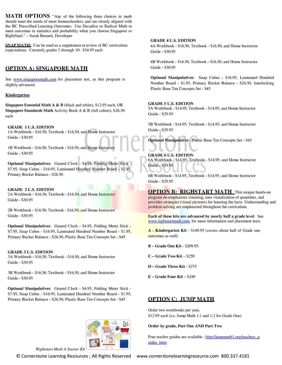 HCOS 2015 - 2016 Curriculum Pack : simplebooklet.com