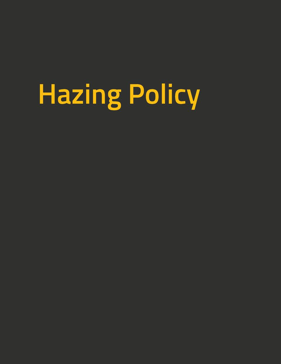 Hazing Policy