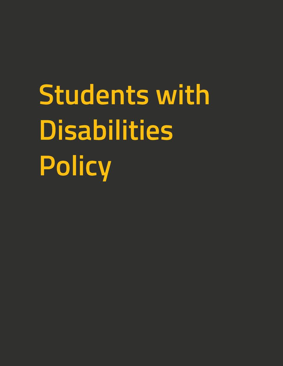 Students with Disabilities Policy