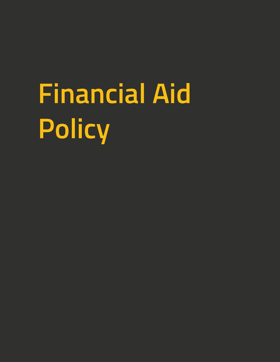 Financial Aid Policy