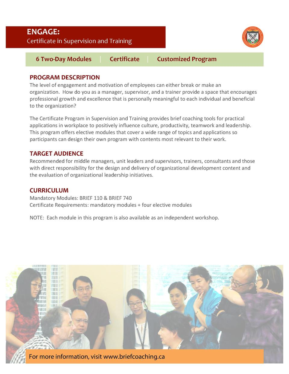 ENGAGE            Certificate     in     Supervision     and     Training                                                 ...