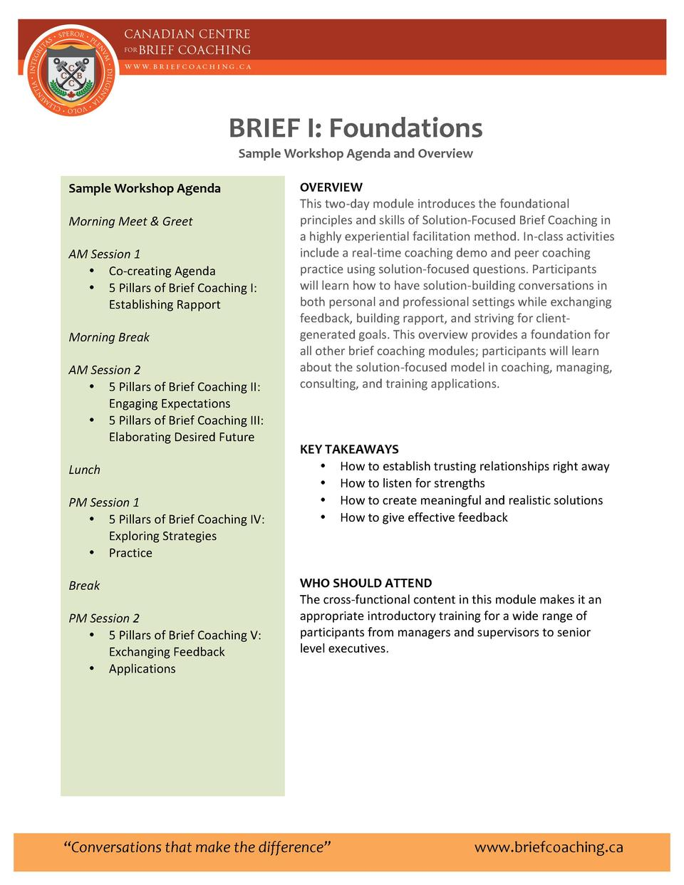 BRIEF     I      Foundations      Sample     Workshop     Agenda     and     Overview      Sample     Workshop     Agenda ...