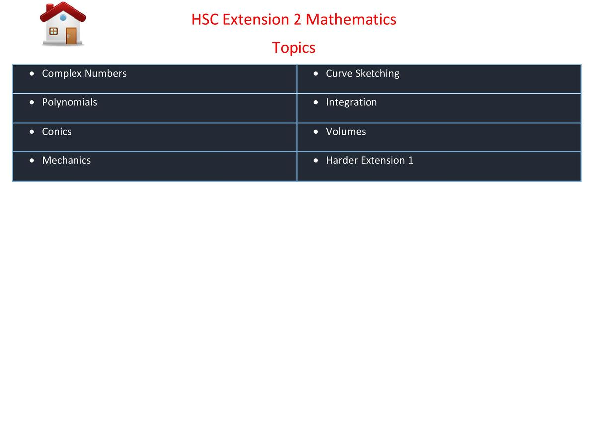 HSC Extension 2 Mathematics Topics     Complex Numbers      Curve Sketching      Polynomials      Integration      Conics ...