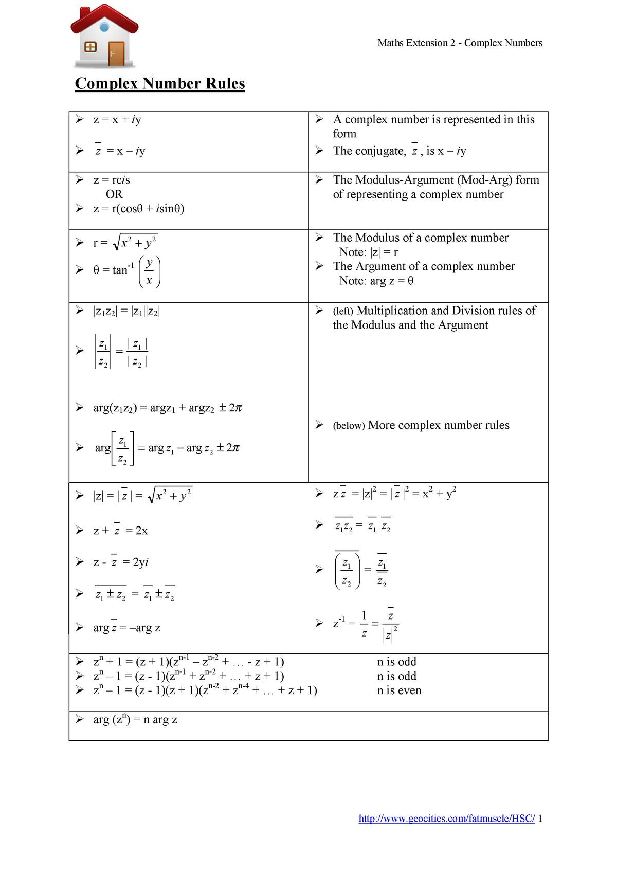 Maths Extension 2 - Complex Numbers  Complex Number Rules   z   x   iy    A complex number is represented in this form   T...