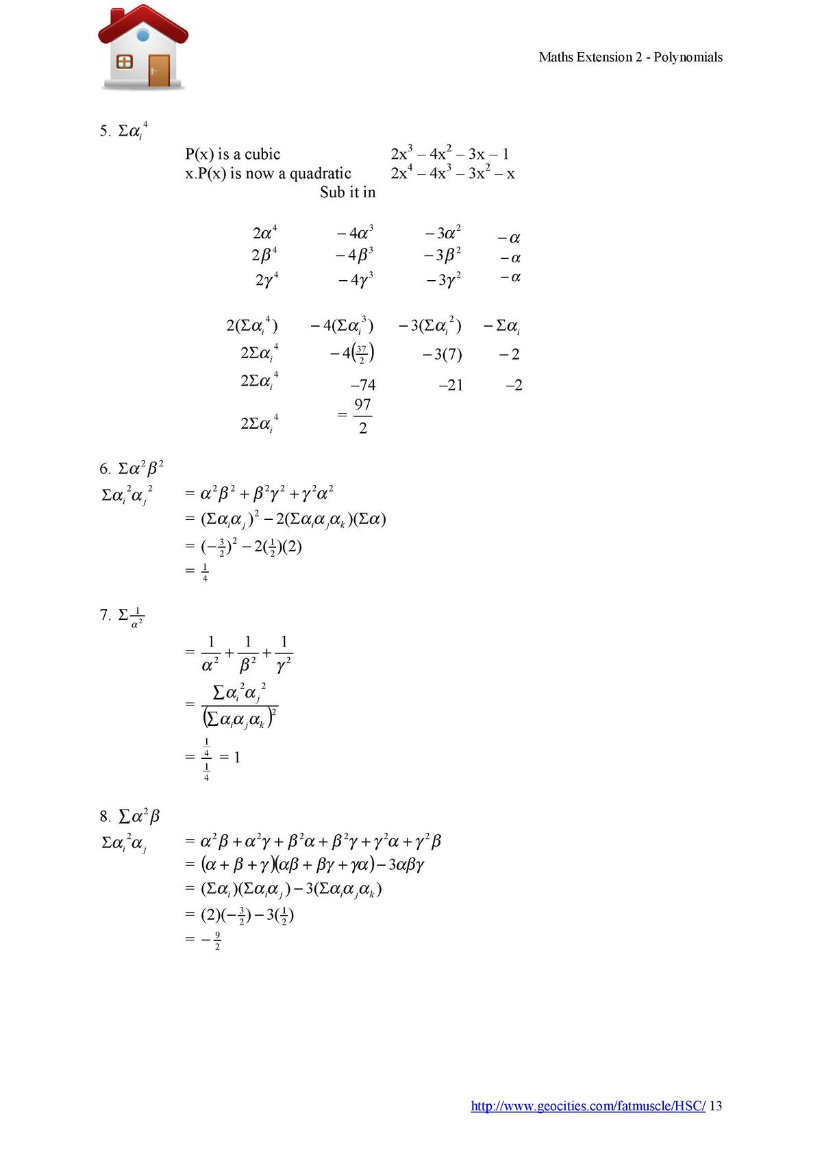 Maths Extension 2 - Polynomials  5.      i  4  P x  is a cubic 2x3     4x2     3x     1 2x4     4x3     3x2     x x.P x  i...