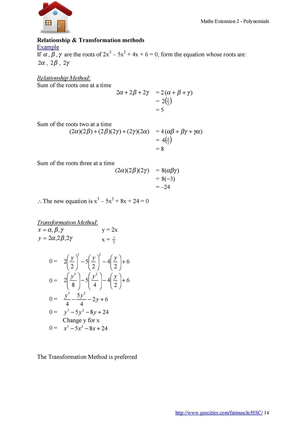 Maths Extension 2 - Polynomials  Relationship   Transformation methods Example If    ,    ,    are the roots of 2x3     5x...