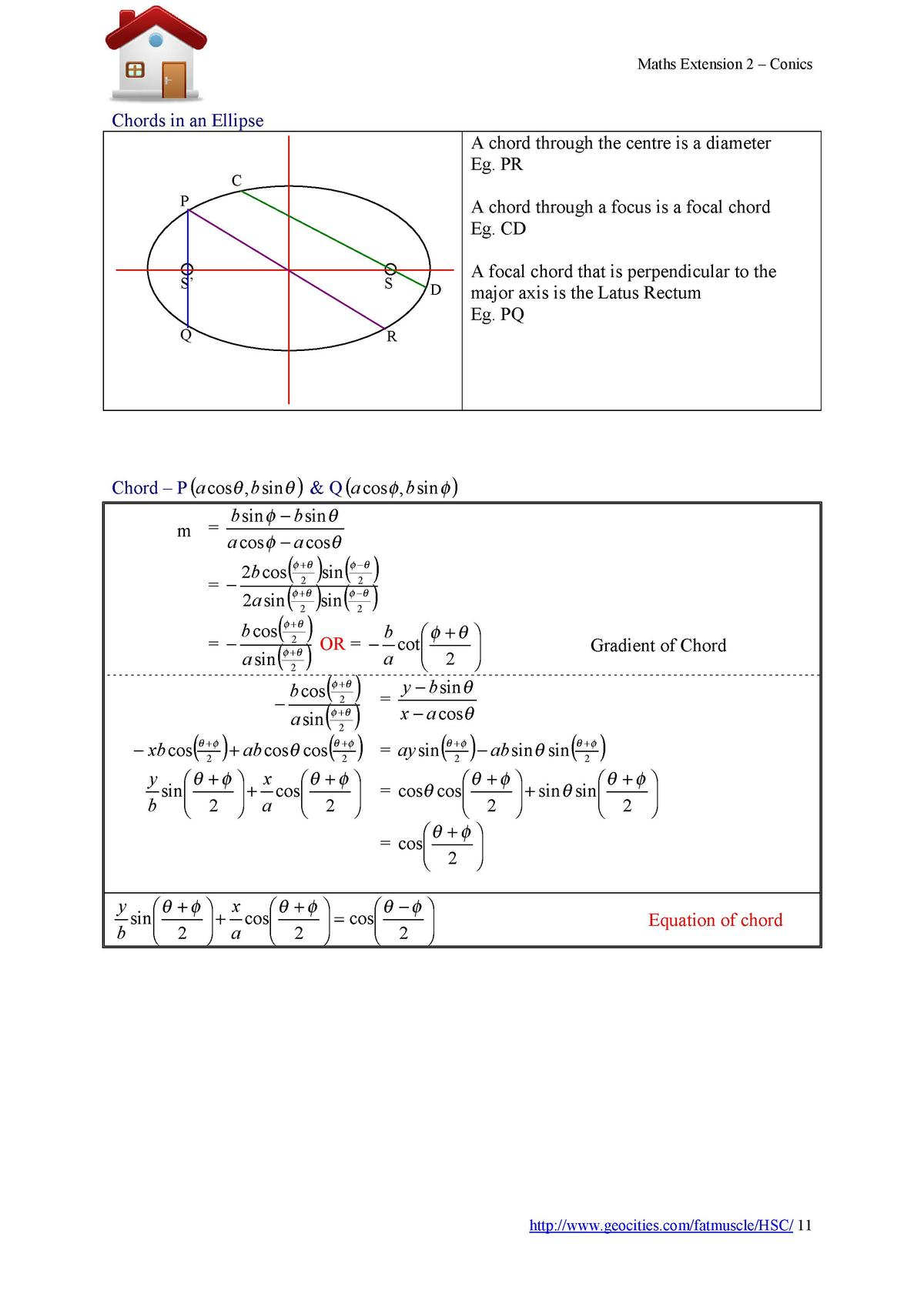 Maths Extension 2     Conics  Chords in an Ellipse A chord through the centre is a diameter Eg. PR  C P  A chord through a...