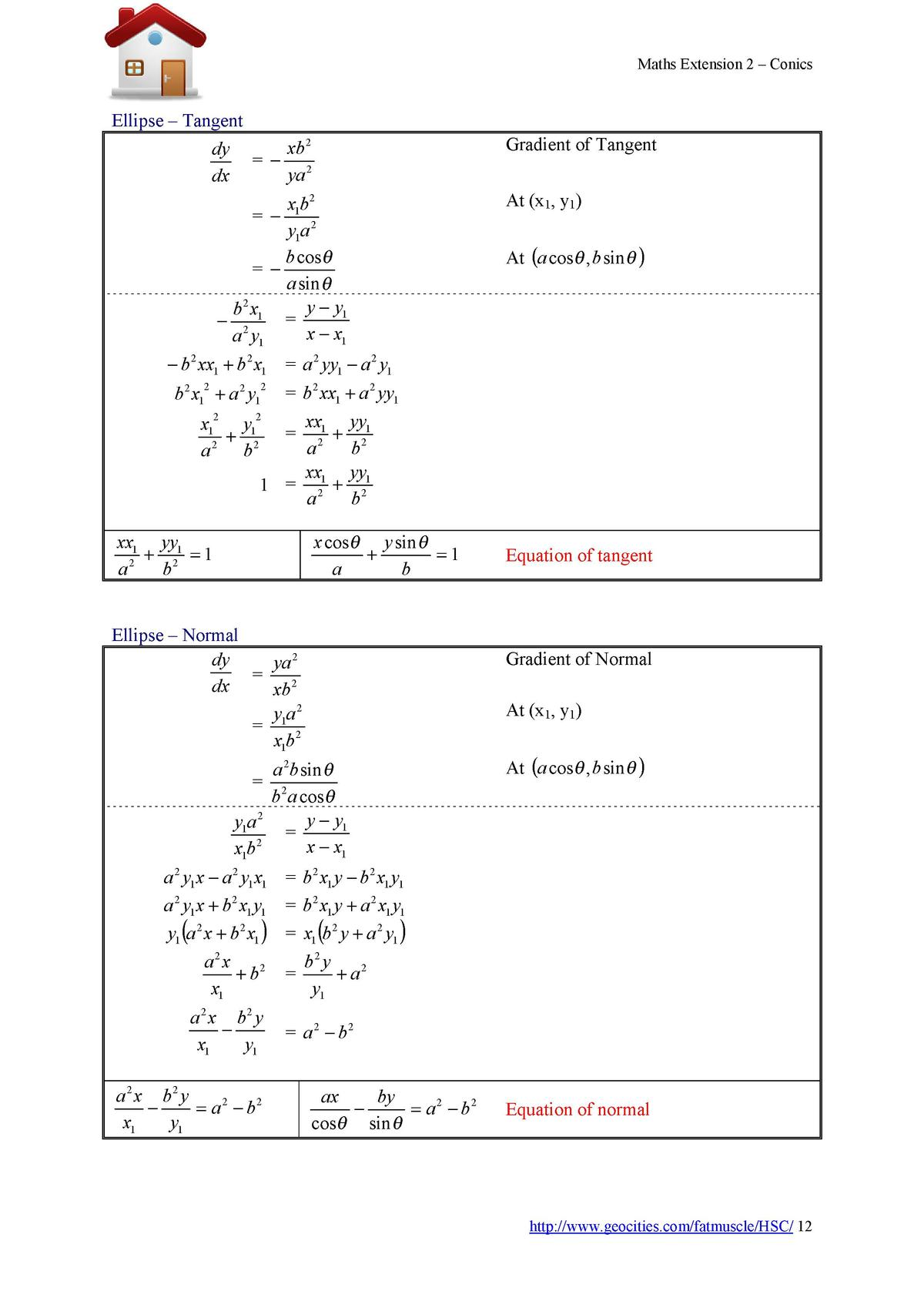 Maths Extension 2     Conics  Ellipse     Tangent dy dx        Gradient of Tangent  xb 2 ya 2  At  x1, y1   x1b 2 y1a 2 b ...