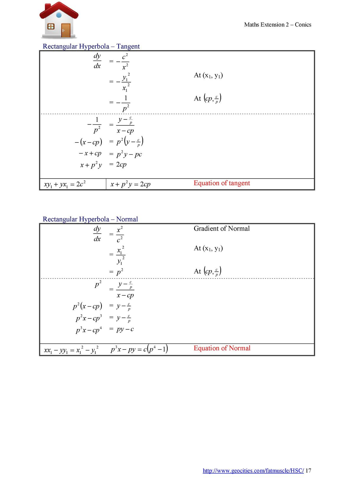 Maths Extension 2     Conics  Rectangular Hyperbola     Tangent dy c2      2 dx x 2 y1      2 x1 1      2 p      1 p2     ...