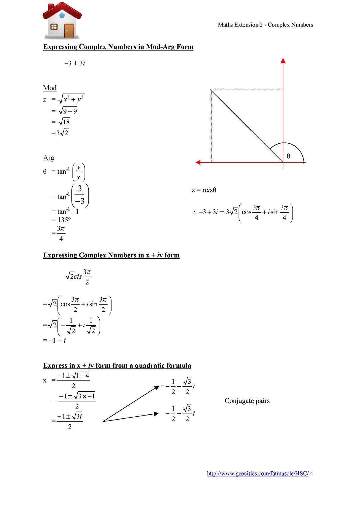 Maths Extension 2 - Complex Numbers  Expressing Complex Numbers in Mod-Arg Form    3   3i Mod z    x2   y 2  9 9   18  3 2...
