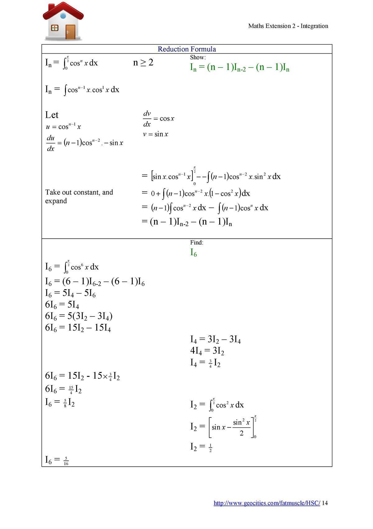Maths Extension 2 - Integration  Reduction Formula Show      2  In      0 cos n x dx_______n     2  In    n     1 In-2    ...