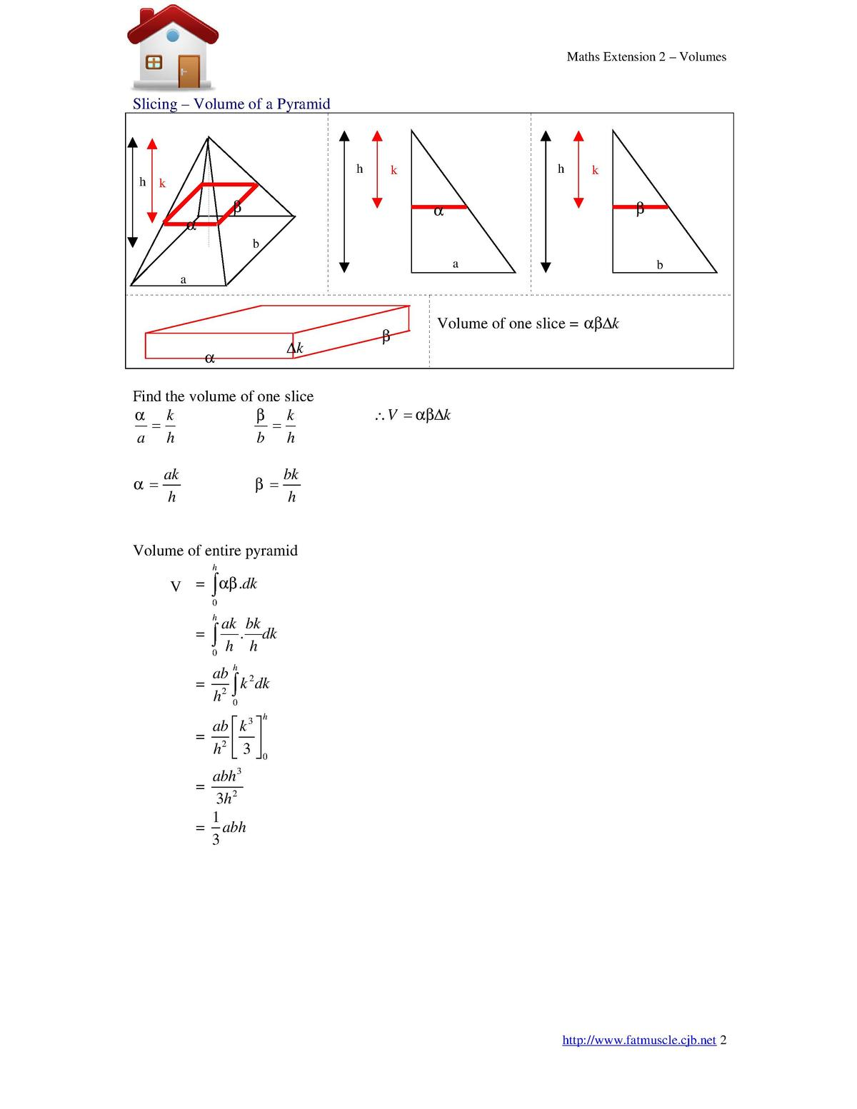 Maths Extension 2  Volumes  Slicing Volume of a Pyramid  h h  h  k  k  k                 b a  b  a     k      Find the vol...