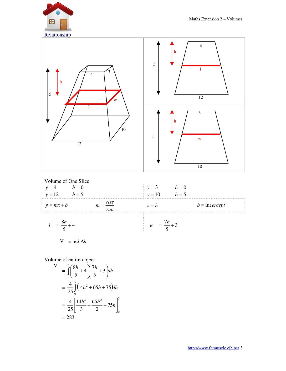 Maths Extension 2  Volumes  Relationship 4 h 5 l  3  4 h 5  12  w l  3 h 10 5  w  12  10  Volume of One Slice y 4 h 0 y   ...
