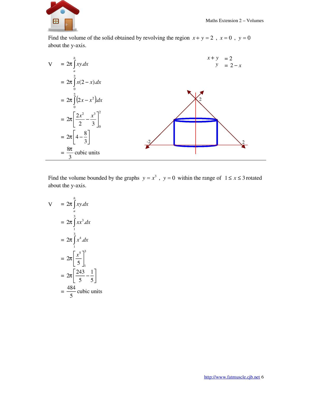 Maths Extension 2  Volumes  Find the volume of the solid obtained by revolving the region x   y   2 , x   0 , y   0 about ...