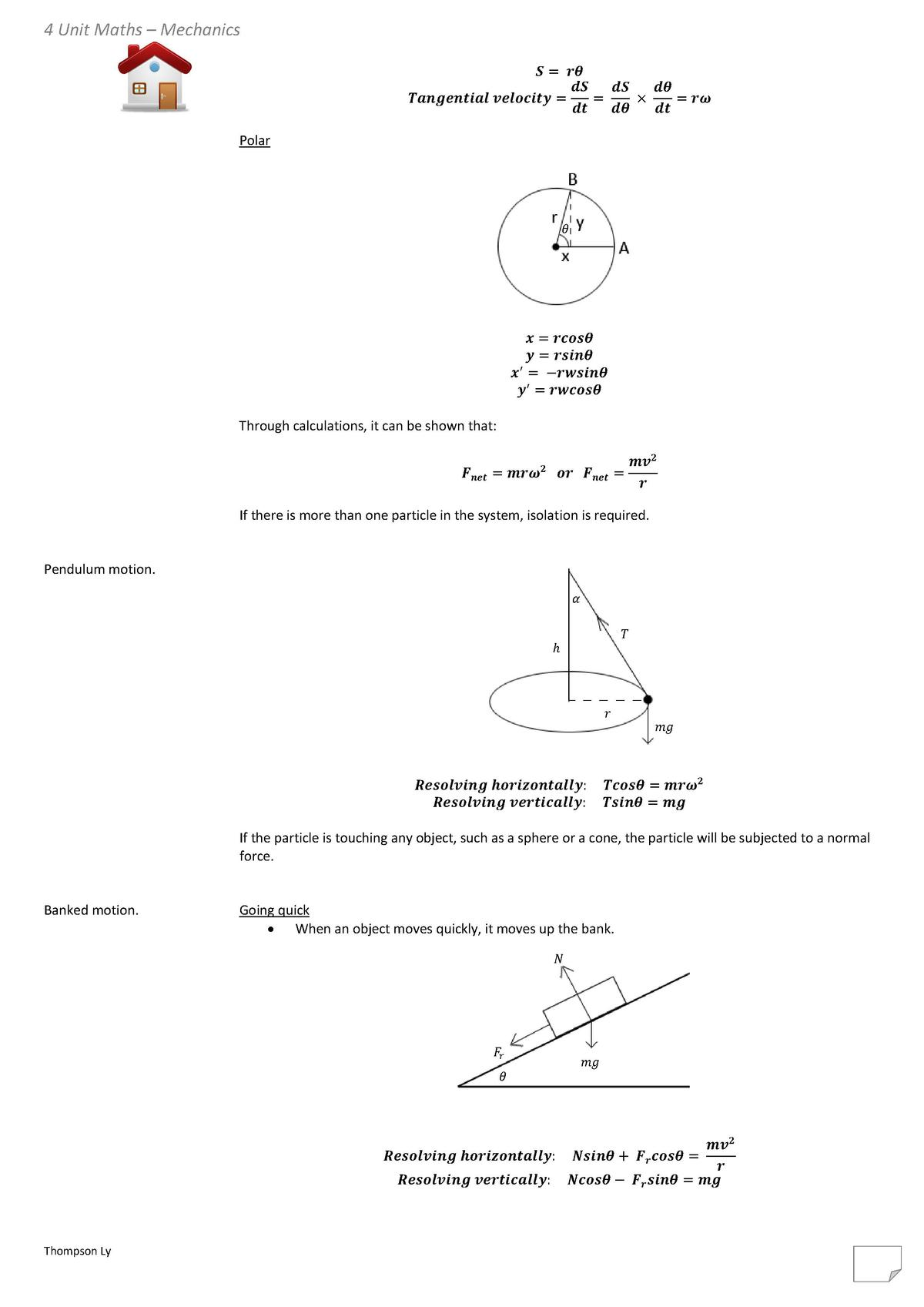 4 Unit Maths     Mechanics  Polar                                                                                         ...