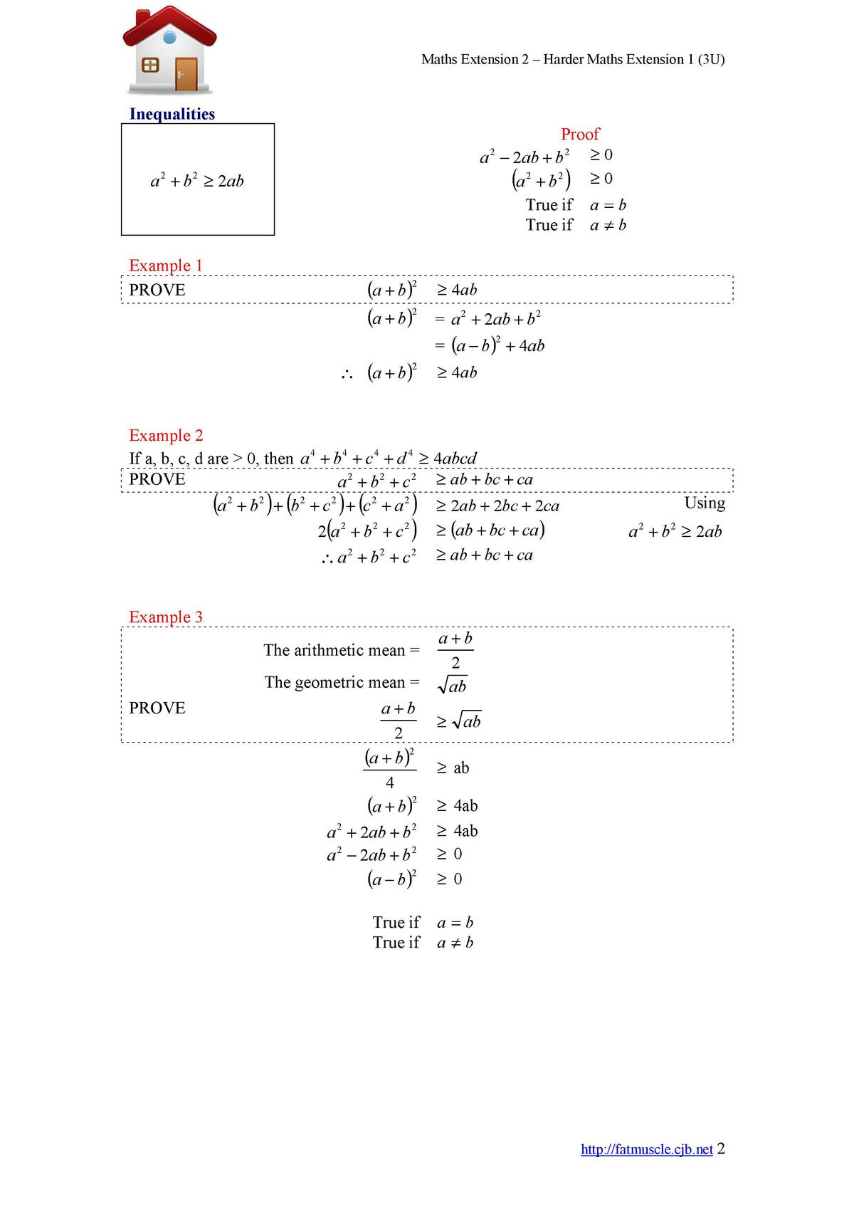 Maths Extension 2     Harder Maths Extension 1  3U   Inequalities Proof a     2ab   b 2     0    0 a2   b2 2     a 2   b 2...