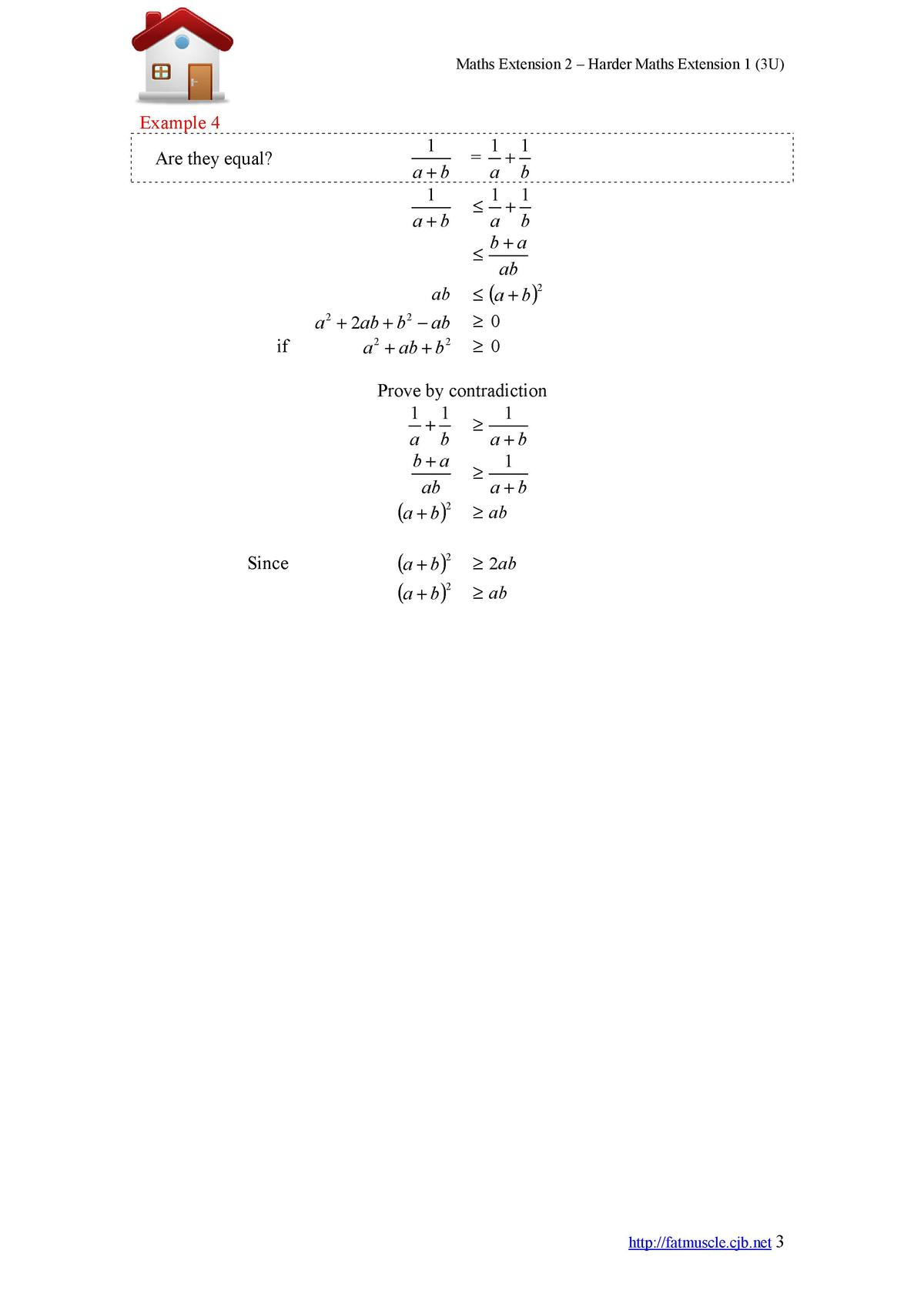 Maths Extension 2     Harder Maths Extension 1  3U   Example 4 1 a b 1 a b  Are they equal   ab  a   2ab   b     ab a 2   ...