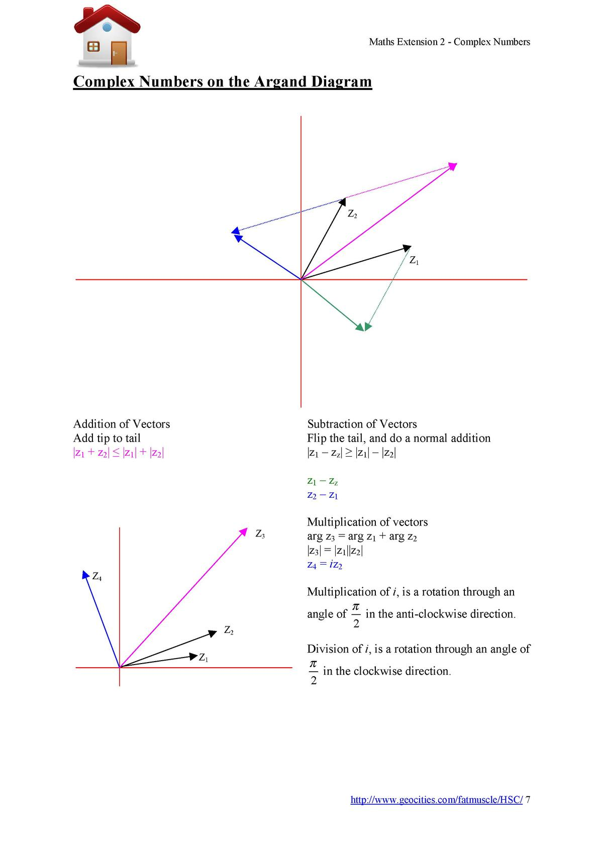 Maths Extension 2 - Complex Numbers  Complex Numbers on the Argand Diagram  Z2  Z1  Subtraction of Vectors Flip the tail, ...