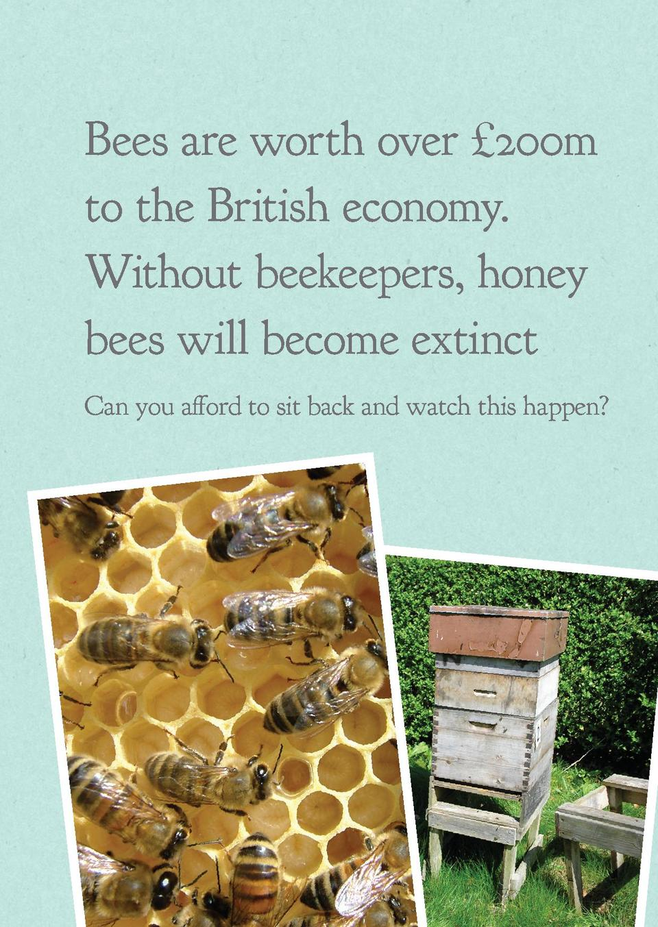 Bees are worth over   200m to the British economy. Without beekeepers, honey bees will become extinct Can you afford to si...