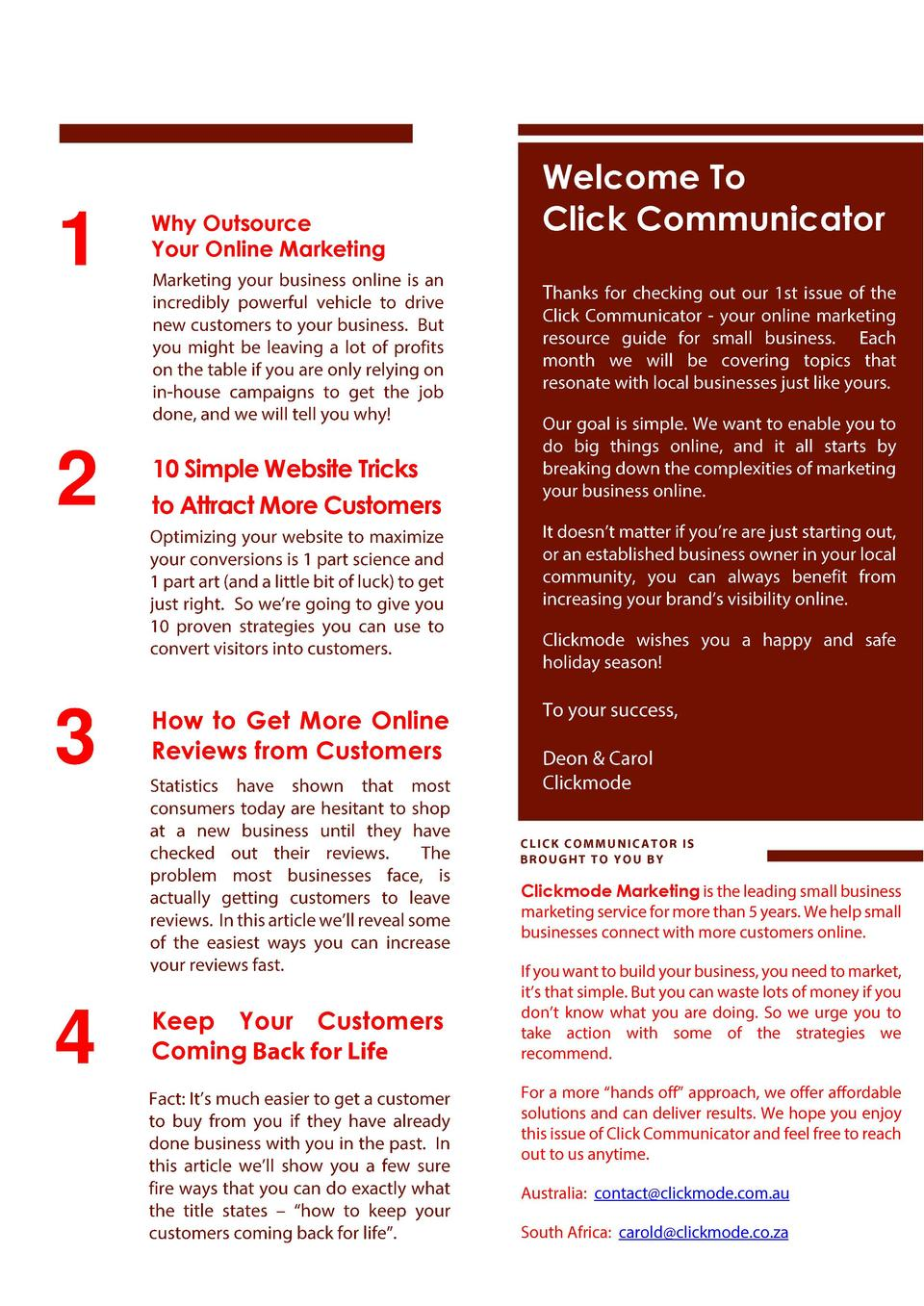1  Why Outsource Your Online Marketing  2  10 Simple Website Tricks to Attract More Customers  3  Welcome To Click Communi...
