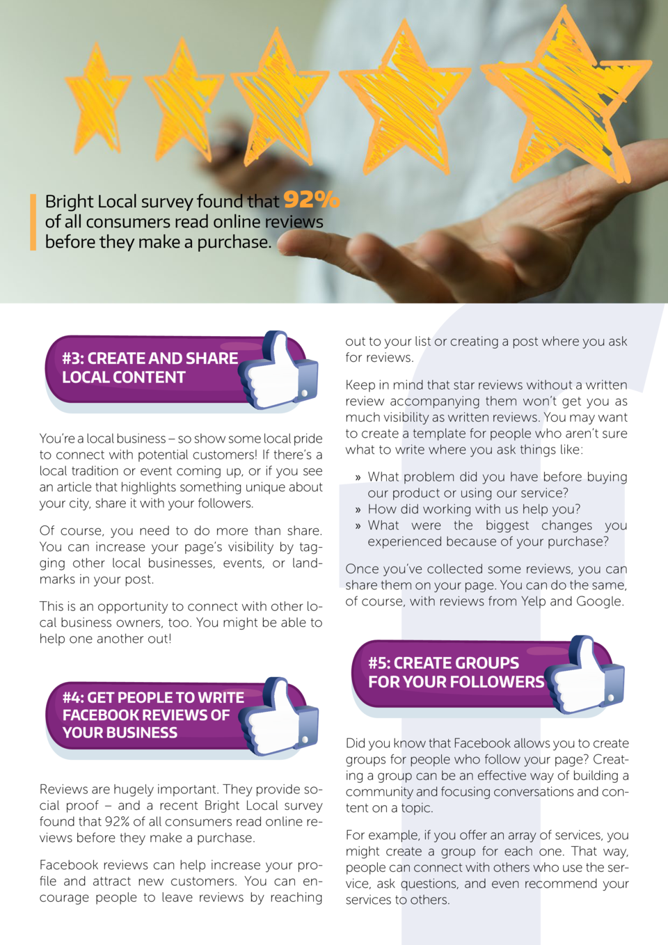 Bright Local survey found that 92  of all consumers read online reviews before they make a purchase.   3  Create and Share...