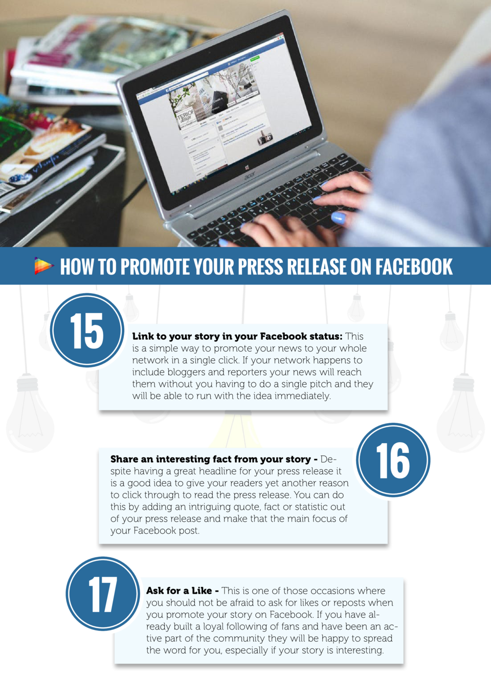 How to promote your press release on Facebook  15  Link to your story in your Facebook status  This is a simple way to pro...