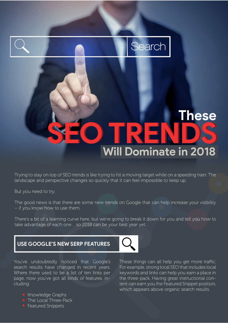 These  SEO TRENDS Will Dominate in 2018  Trying to stay on top of SEO trends is like trying to hit a moving target while o...
