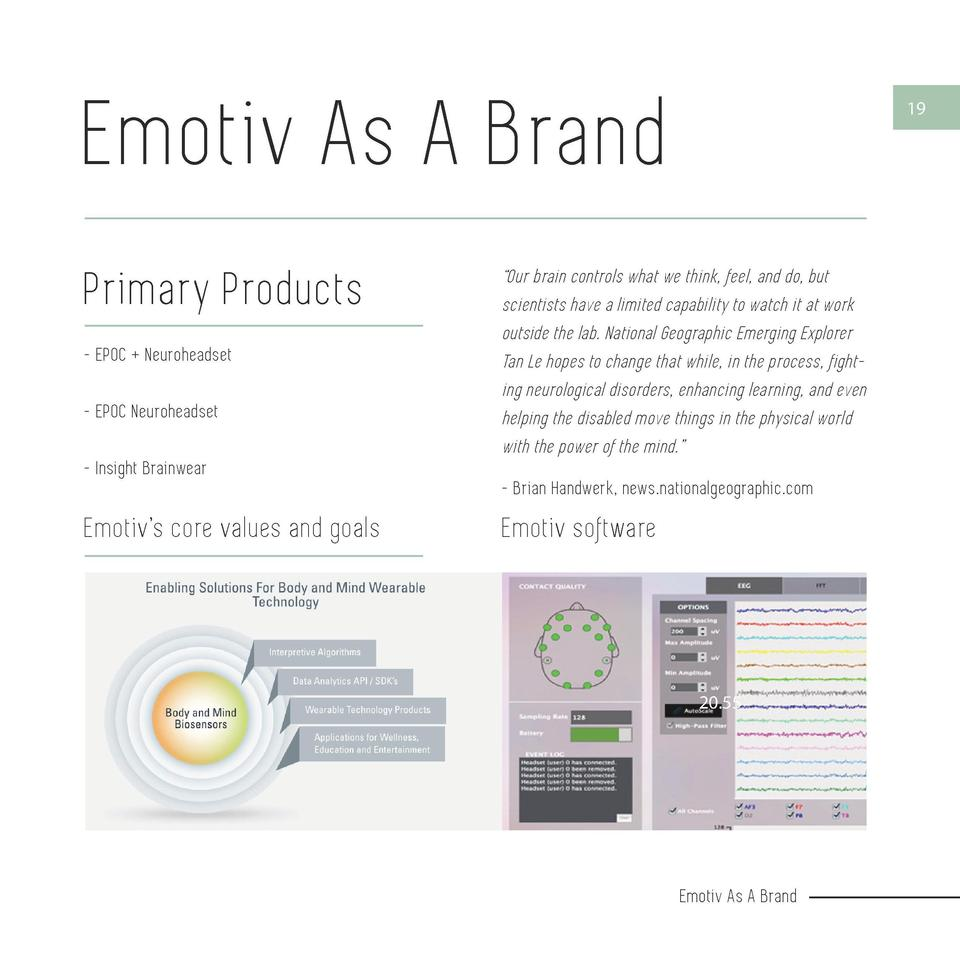 Emotiv As A Brand  18  Primary Products - EPOC   Neuroheadset - EPOC Neuroheadset - Insight Brainwear  Emotiv   s core val...
