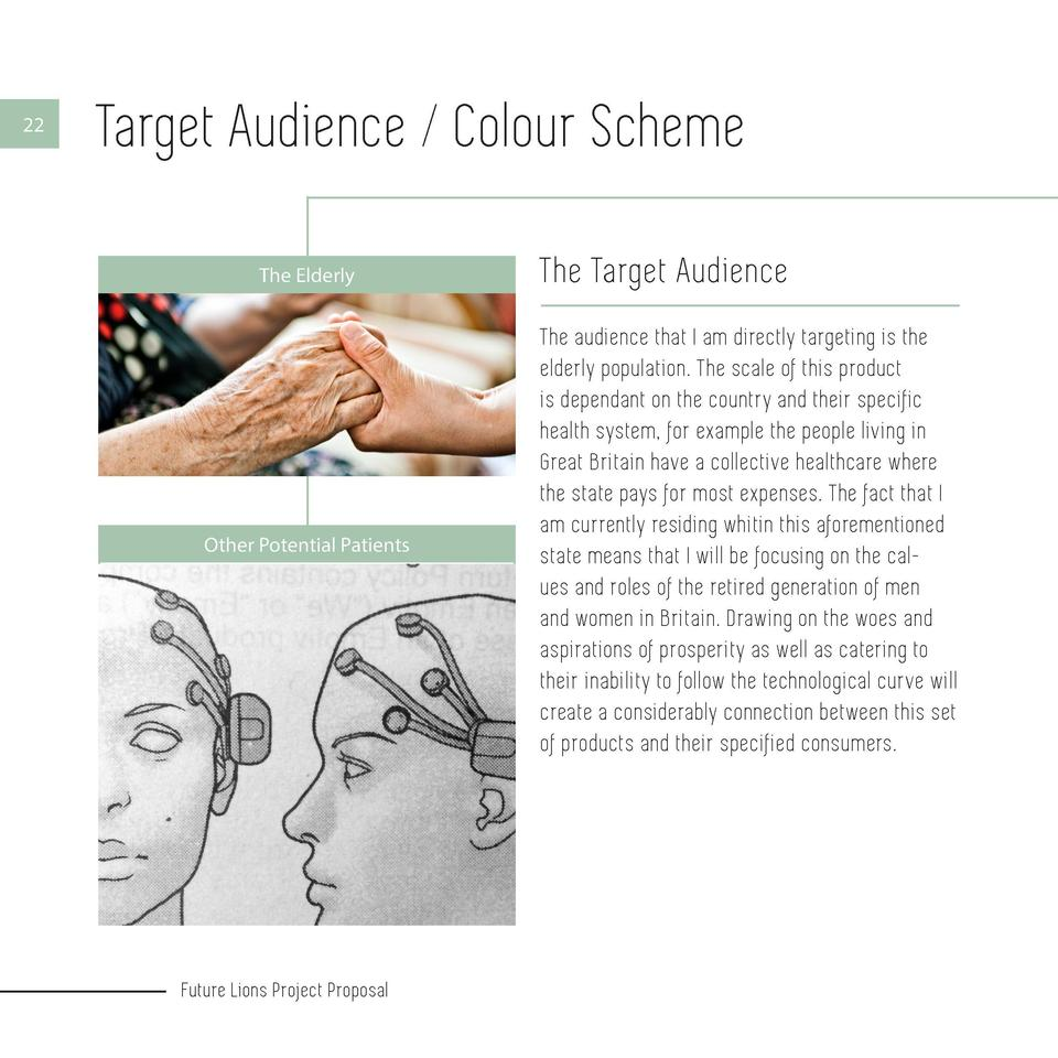 22  Target Audience   Colour Scheme The Elderly  Other Potential Patients  Future Lions Project Proposal  The Target Audie...
