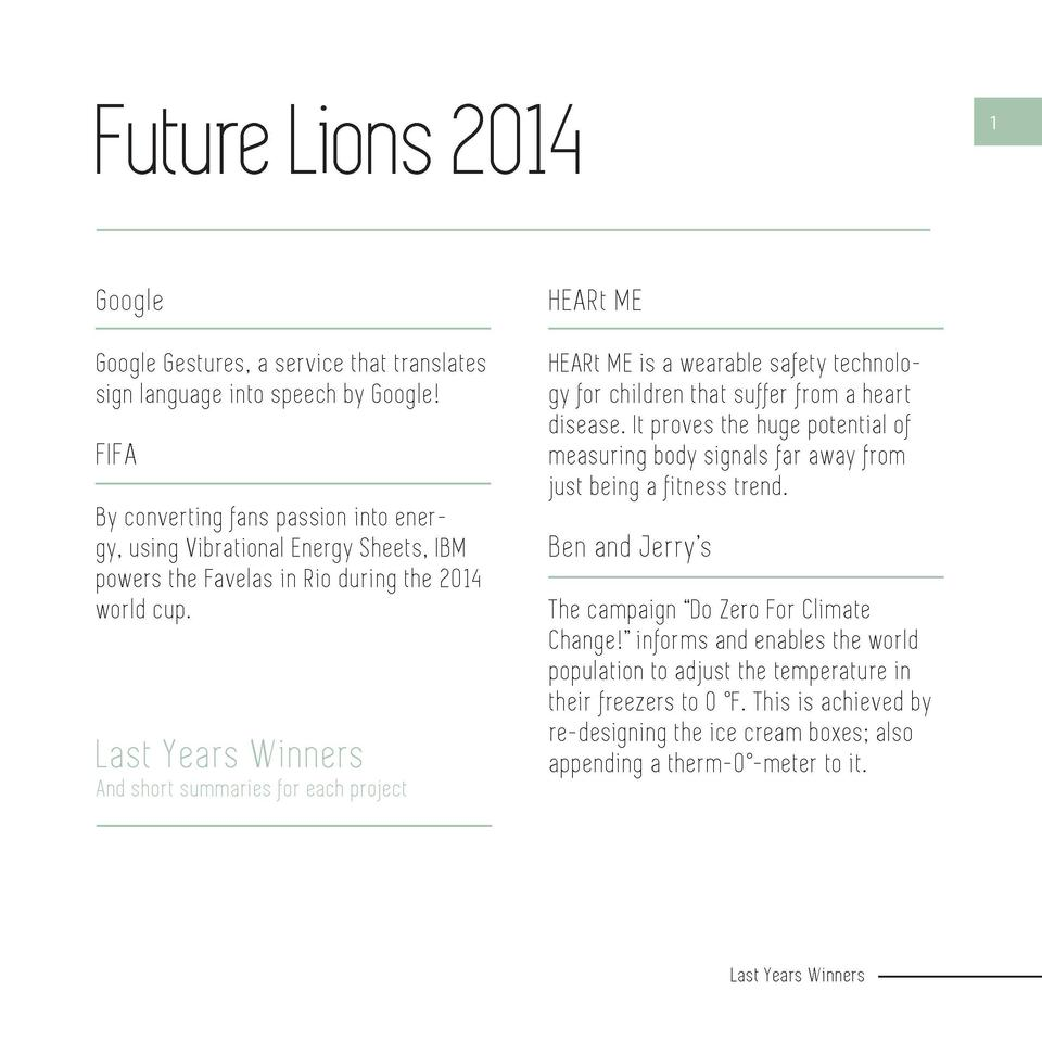 Future Lions 2014  1  Google  HEARt ME  Google Gestures, a service that translates sign language into speech by Google   H...