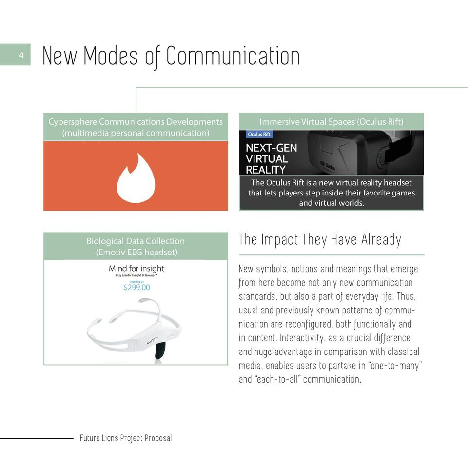 4  New Modes of Communication Cybersphere Communications Developments  multimedia personal communication   5  Immersive Vi...
