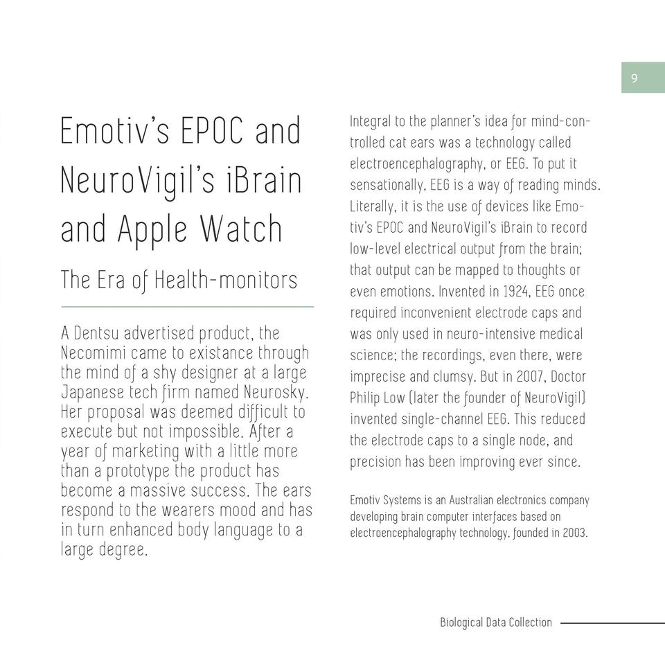 8  9  Emotiv   s EPOC and NeuroVigi l   s iBrain and Apple Watch The Era of Health-monitors  Biological Data Collection  S...