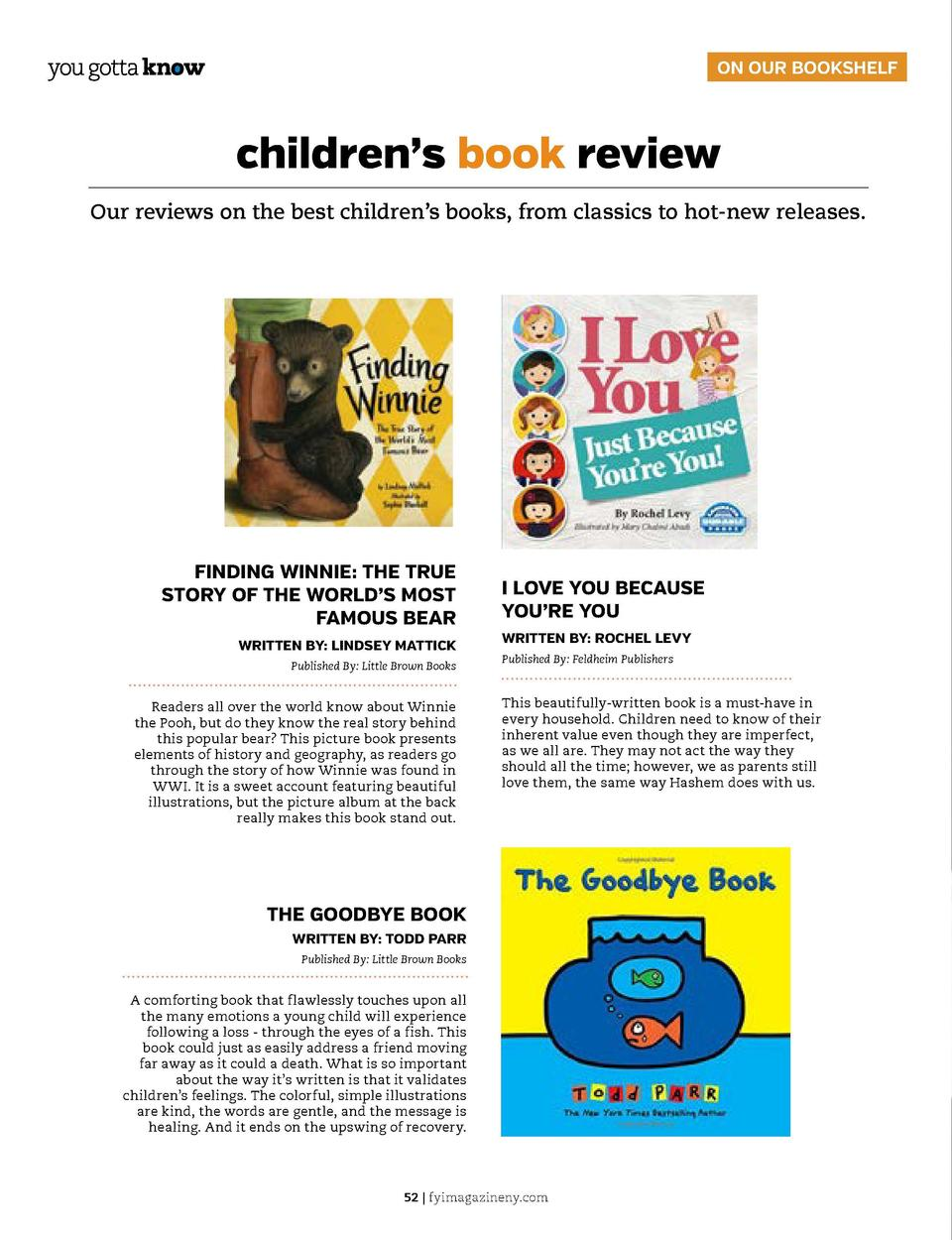 ON OUR BOOKSHELF  children   s book review Our reviews on the best children   s books, from classics to hot-new releases. ...