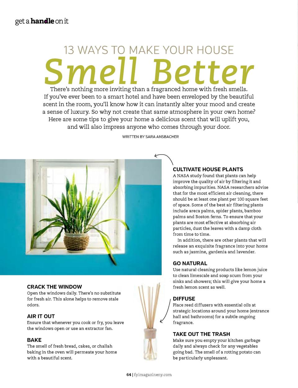 13 WAYS TO MAKE YOUR HOUSE  Smell Better  There   s nothing more inviting than a fragranced home with fresh smells. If you...
