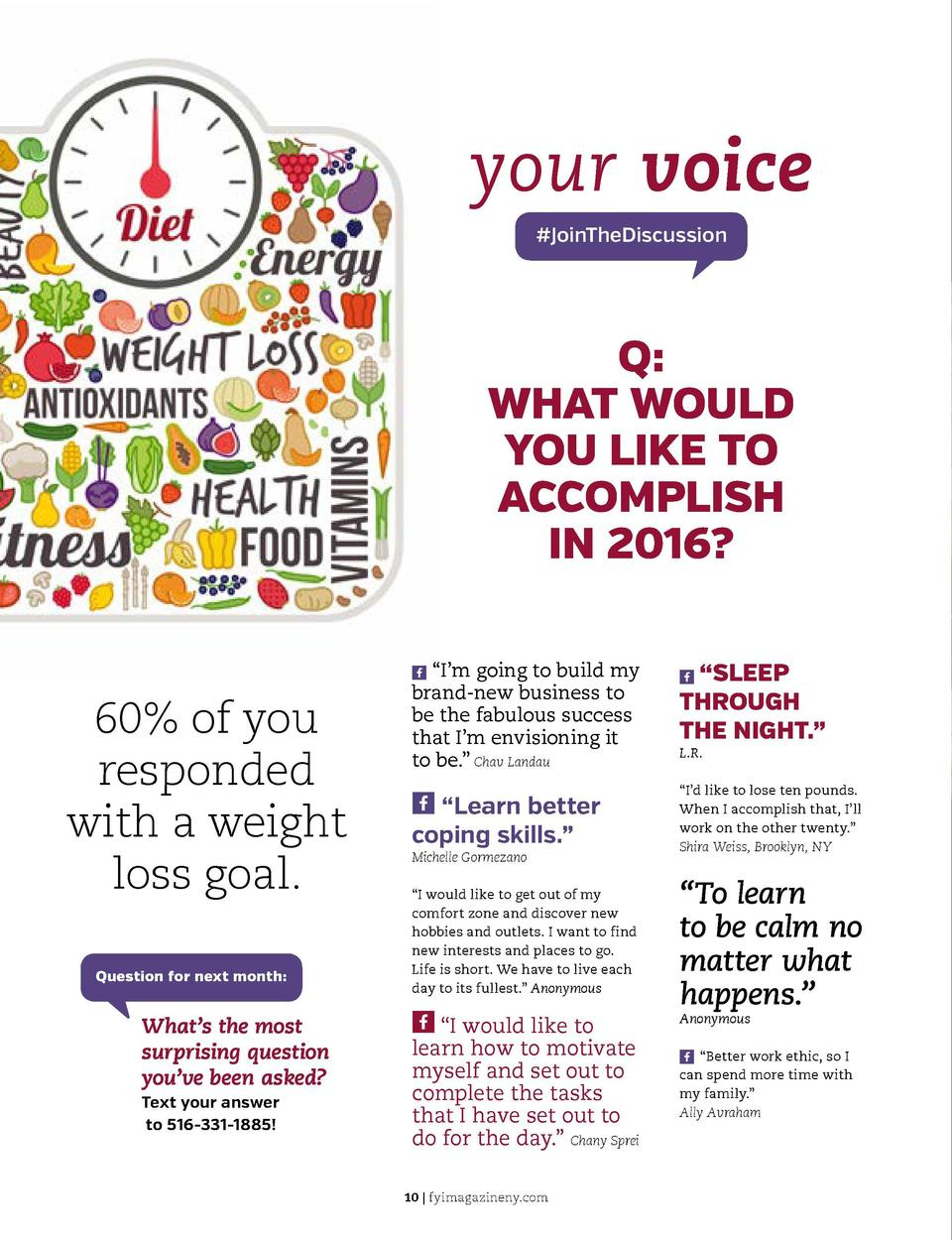 your voice  JoinTheDiscussion  Q  WHAT WOULD YOU LIKE TO ACCOMPLISH IN 2016  X    I   m going to build my  6...