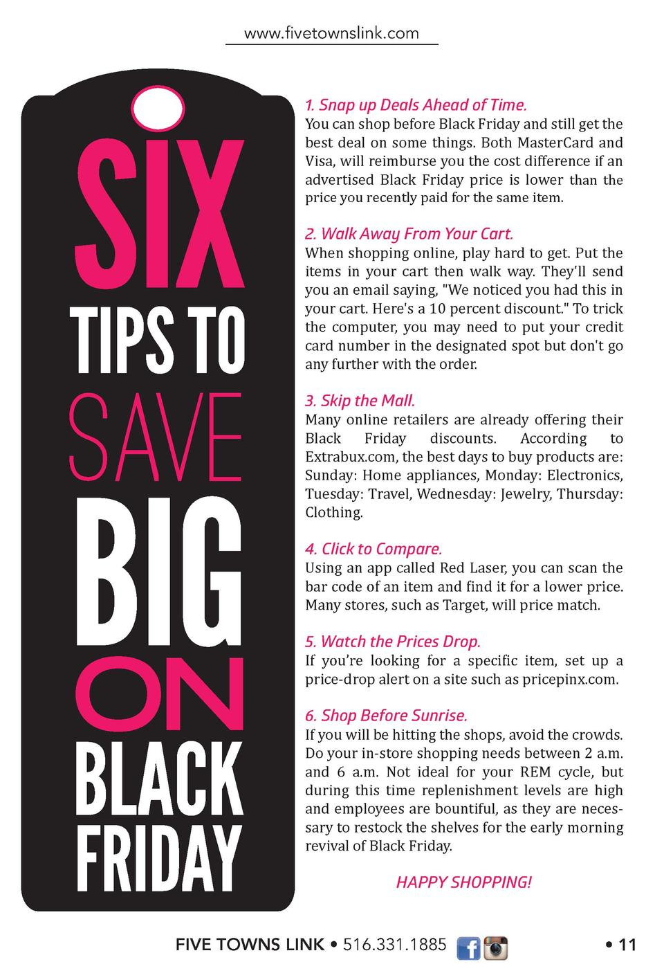 www.   vetownslink.com  SIX TIPS TO  SAVE  BIG ON BLACK FRIDAY  1. Snap up Deals Ahead of Time. You can shop before Black ...