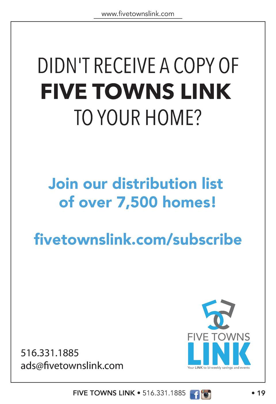 www.   vetownslink.com  DIDN T RECEIVE A COPY OF FIVE TOWNS LINK TO YOUR HOME  Join our distribution list of over 7,500 ho...