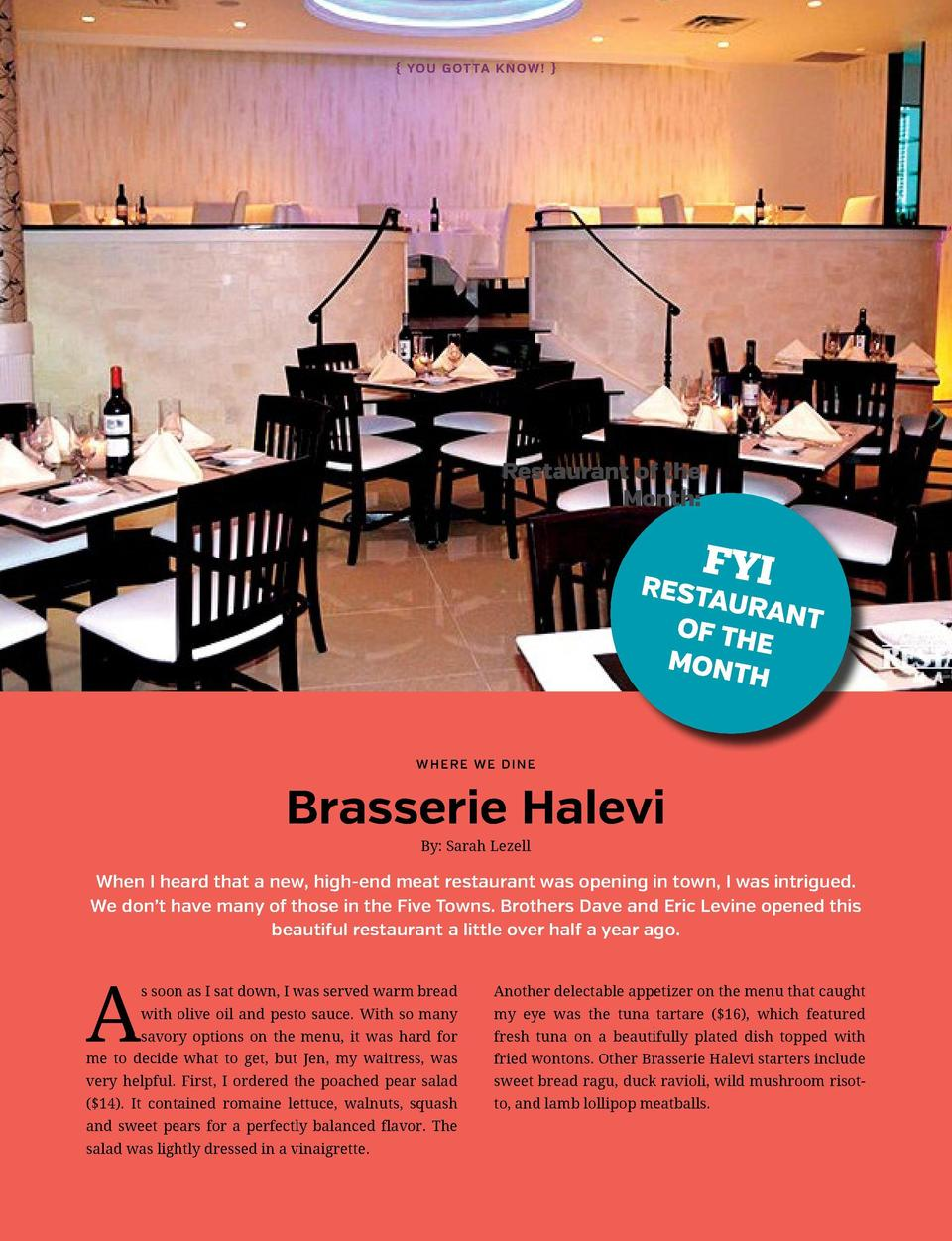 You G ot ta Kn ow     Restaurant of the Month   FY  Resta I uran t of th e Mont h W H ERE WE DINE  Brasserie Halevi By  ...