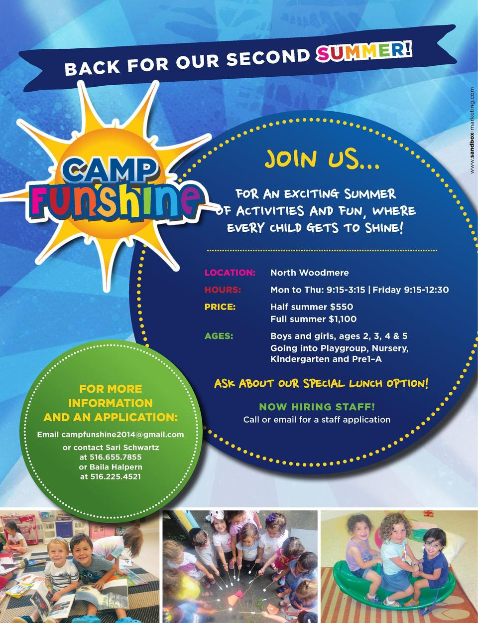 G et a Han dl e on Thin g s    Join us... for An exciting summer of Activities And fun, where every child gets to shine ...