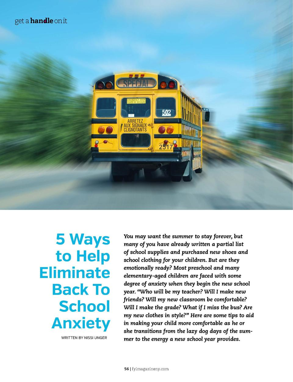 get a handle on it  get a handle on it  1. REMOVE THE FEAR OF THE UNKNOWN  5 Ways to Help Eliminate Back To School Anxiety...
