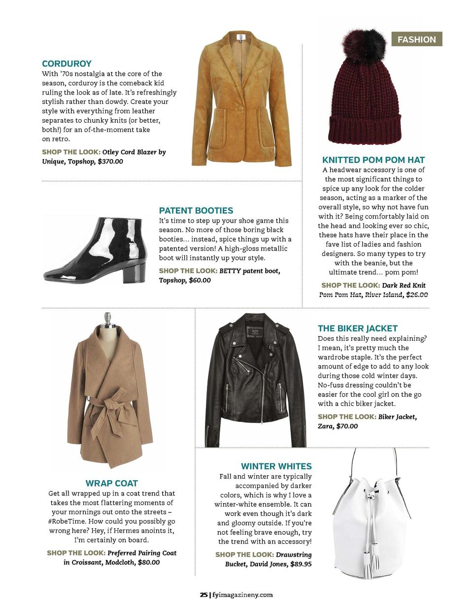 the beauty guide  FASHION CORDUROY  WINTER 2015  Fashion Must-Haves FASHION EDITOR  BETTY GULKO  With    70s nostalgia at ...