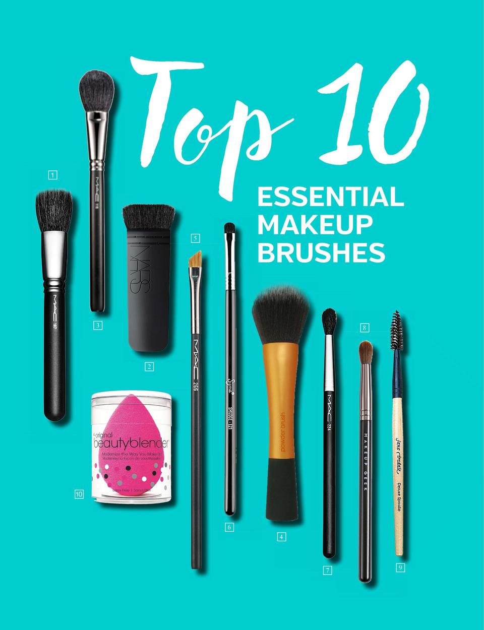 the beauty guide  MAKEUP  Top 10  e  ESSENTIAL MAKEUP BRUSHES  5  3  We all put on makeup  at least some of the time , but...