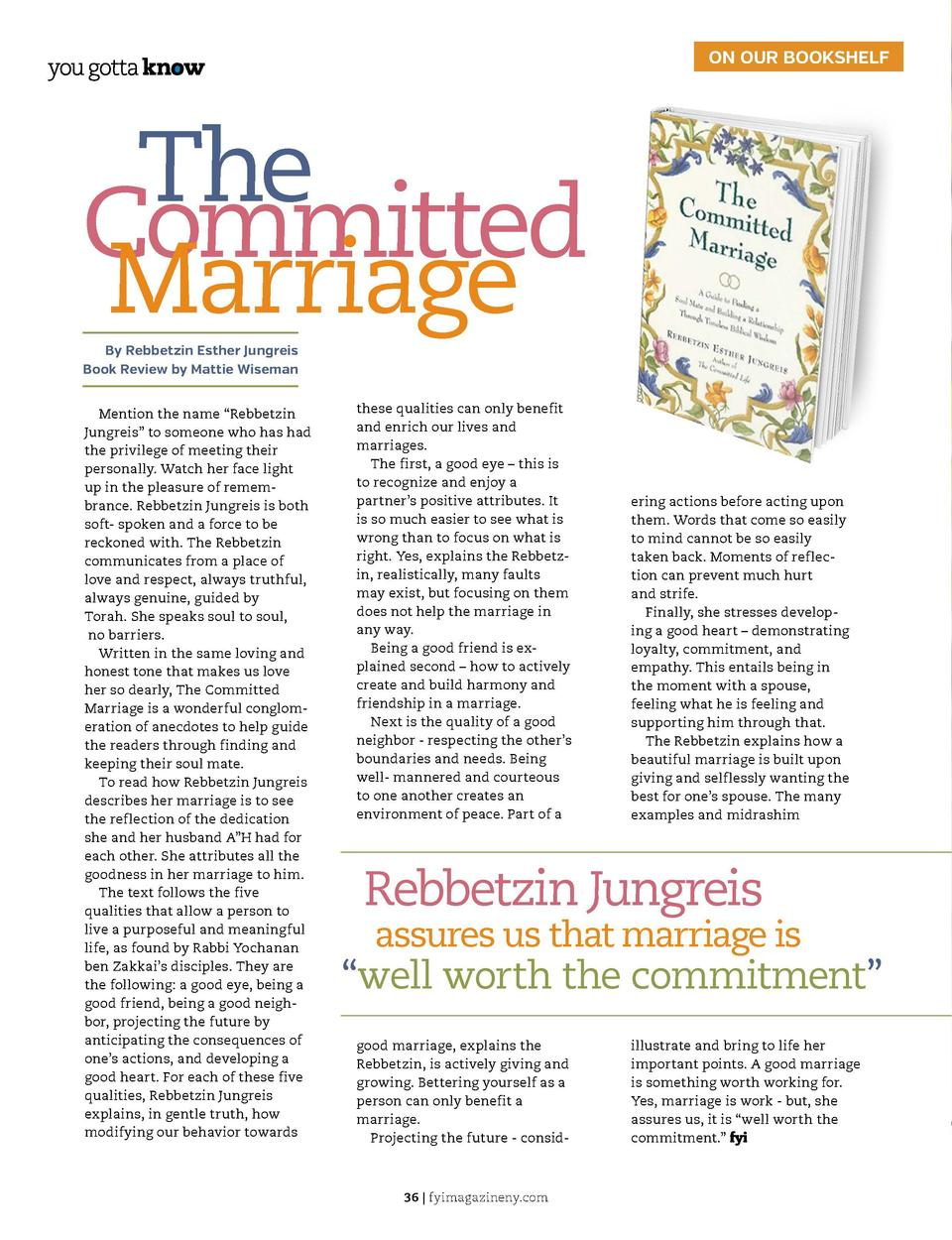 ON OUR BOOKSHELF  The Committed Marriage By Rebbetzin Esther Jungreis Book Review by Mattie Wiseman Mention the name    Re...