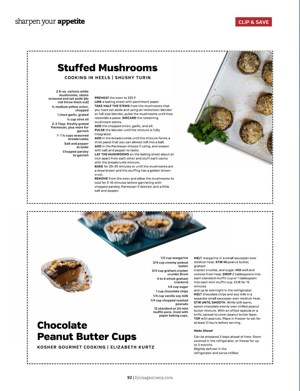 CLIP   SAVE  Stuffed Mushrooms COOK I N G I N HE E L S   S HU S H Y TU R IN 2 8-oz. cartons white mushrooms, stems removed...