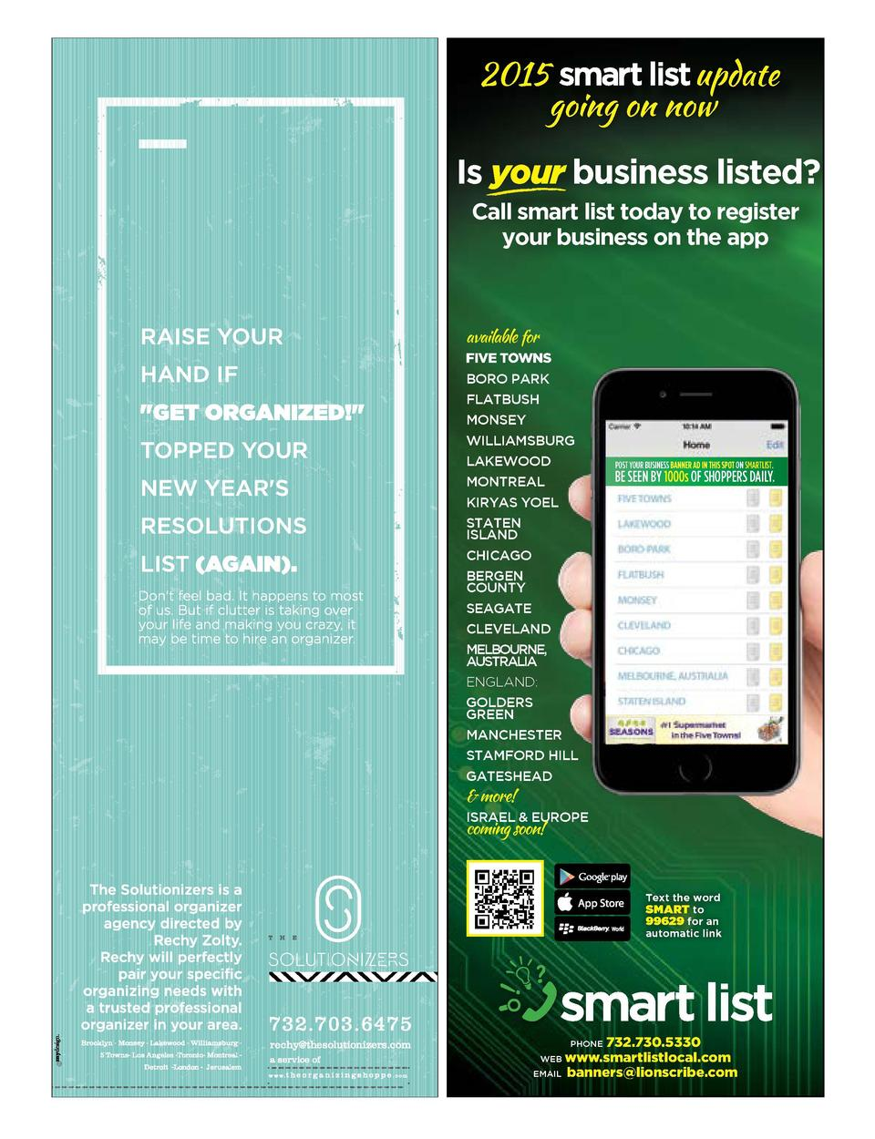 2015 update going on now  Is your business listed  Call smart list today to register your business on the app  available f...