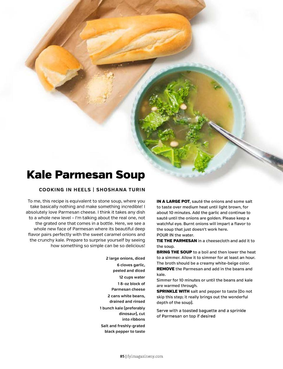 Kale Parmesan Soup  Butternut Squash and Chickpea Soup  COOKING IN HEELS   SHOSHANA TURIN To me, this recipe is equivalent...