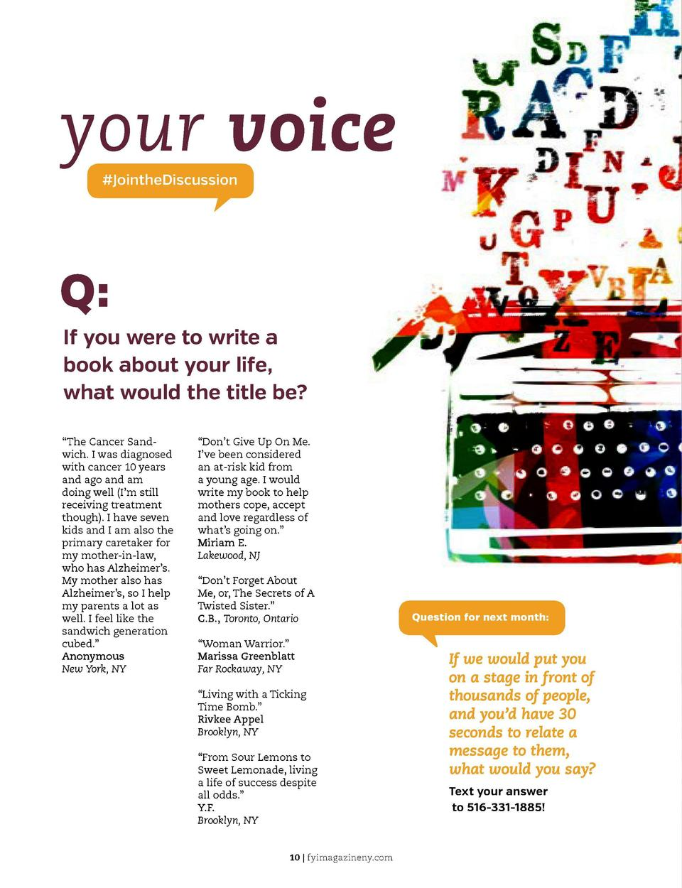 your voice  JointheDiscussion  Q  If you were to write a book about your life, what would the title be   C  M  Y     The C...