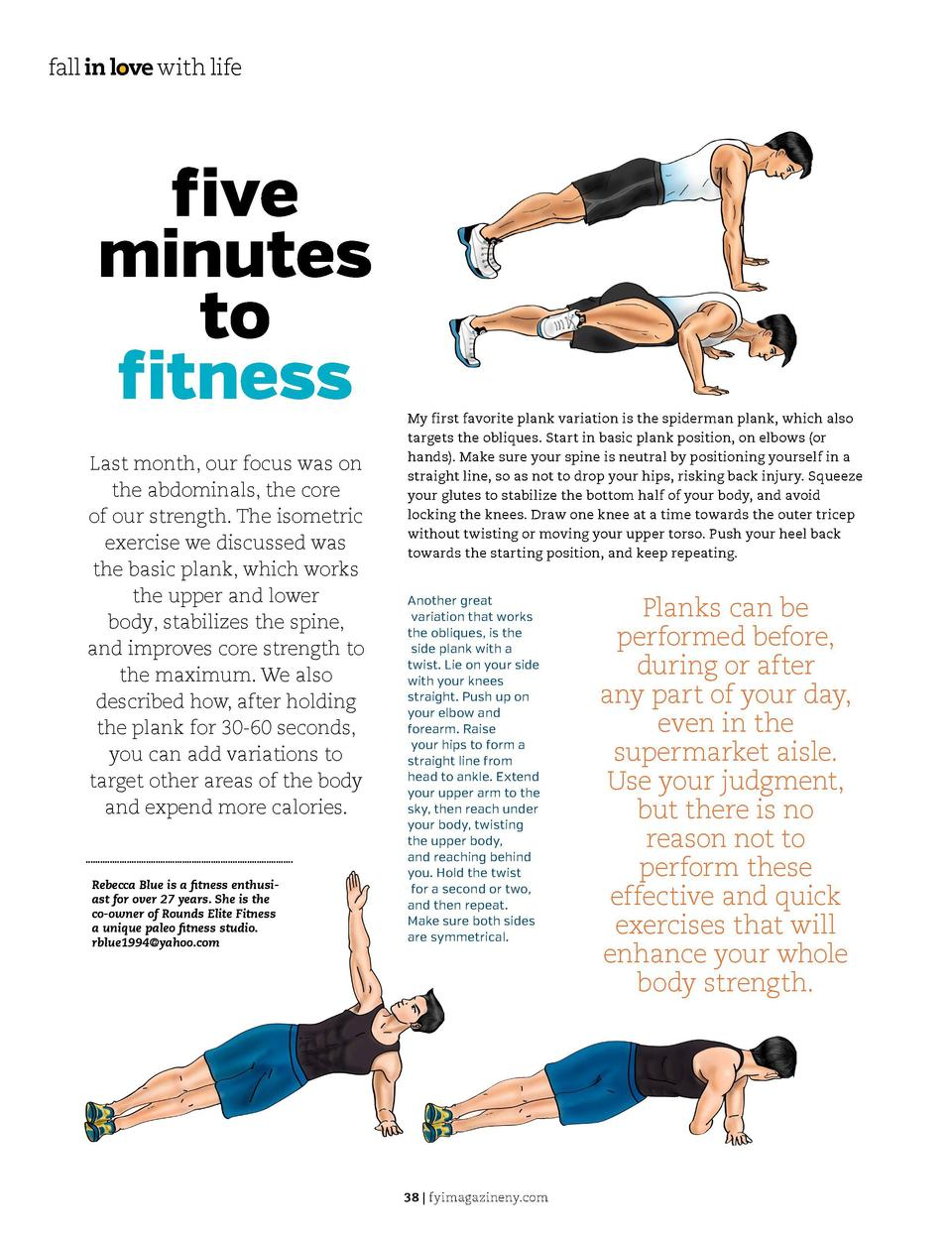 fall in love with life  five minutes to fitness Last month, our focus was on the abdominals, the core of our strength. The...
